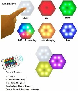 TikTok 3 Touch-Sensitive Multi-Color RGB LED Modular Hexagon Wall Light & Remote