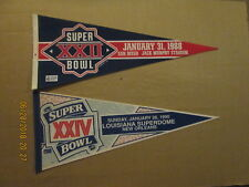 NFL Super Bowl XXII & XXIV Vintage Circa 1988 & 1990 Logo Football Pennants