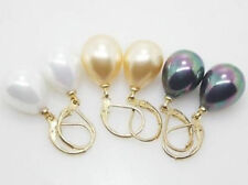 Wholesale 3 Pairs 12X16MM White Yellow Black Shell Pearl Drop Earrings