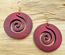 Swirl Whirl Disc Wooden Cutout Large Red/Brown Hook Earrings 5cm NEW