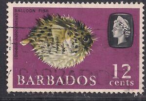Barbados 1965 QE2 12ct Porcupine Fish used SG 329 ( L1020  )