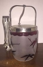 Antique Glass Biscuit Jar W/SP Lid And Rim And Handle includes Fork Bamboo red