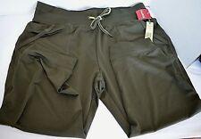 Green Tea Veluteness Yoga Cargo Exercise Pocket Capri Pants Olive Green Womens L