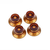 Musiclily Pro 4 Piece Amber Metric 18 Spline Hat Knob For Asia Import Guitar Pot