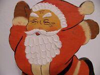 Vintage Painted Flat Wood Santa Claus Christmas Decoration