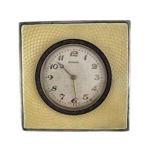 A Travel Silver,Enamel & Brass ASPREY Clock