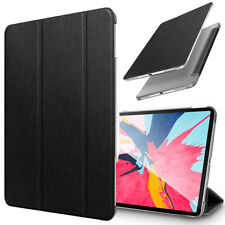 """For iPad Pro 11"""" 2018 Black Leather Magnetic Case Stand Smart Cover Clear Back"""