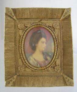 Antique FLORENZA Gold Tone Metal FRAME Easel Back Oval Portrait convex glass