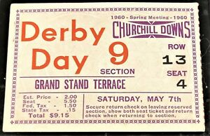 1960 KENTUCKY DERBY CLUB HOUSE TICKET STUB - IN VERY NICE CONDITION