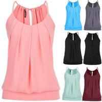 Women Summer Loose Sleeveless Wrinkled Halter Neck Cami Tank Tops Vest Blouse
