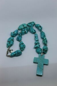 Paige Wallace Large Turquoise Stone Necklace w/Turquoise Cross