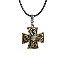 Gothic Cross Charm Rhinestone Pendant Choker Necklace with Black Cord