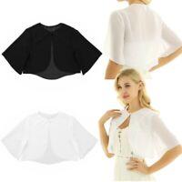 Fashion Women Ladies Half Sleeve Sheer Chiffon Bolero Crop Shrug Tops Cardigan