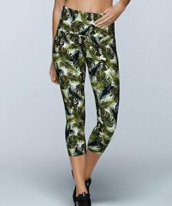 Lorna Jane Womens XS Green Vintage Palm Support Hi Rise Leggings 7/8 Cropped