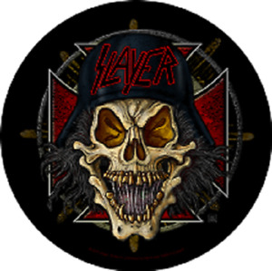 SLAYER SKUL BACK PATCH  SEW ON MADE IN ENGLAND UNDER LICENSE SCREEN PRINTED