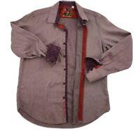 ROBERT GRAHAM Men's Size XL Flip Cuff Button Down Classic Fit Burgundy LS Shirt