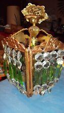 VTG HOLLYWOOD REGENCY Brass Green & Clear Crystal Cage Chandelier Foyer