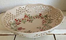 Ciotola in ceramica con Piercing lavoro e bacche dipinta a mano marcato ESTERA