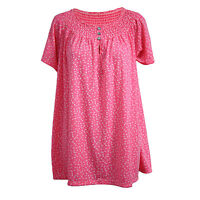 Womens Ladies Floral Print Short Sleeve Buttons Detail Gypsy Top Blouse UK 8-14