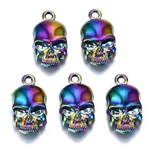 20pc Rainbow Alloy Skull Pendants Multi-color Metal Hang Dangle Charms 18.5x10mm