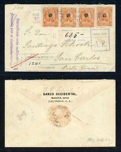 EL SALVADOR Postal History: Lot #15 1899 20c REG AR SANTA ANA - COSTA RICA $$$$