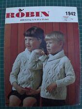 Childrens Knitting Pattern Aran Cardigan Robin 1942 26-30  inch