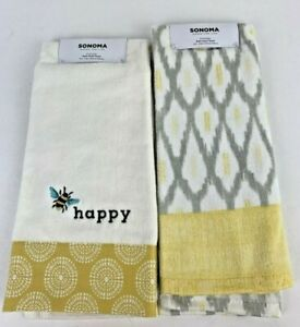2 Sonoma Bath Hand Towels - Bee Happy Embroidered with Yellow Border & Geometric