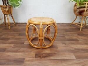 Vintage Bamboo Side Table Mid-Century Retro Tiki Boho Scandi Free Post!