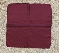 "Ashear Maroon Red Silk Hand Rolled 18"" Pocket Square Handkerchief VGUC"