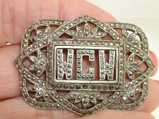 """ART DECO STERLING SILVER FILIGREE SPARKLING MARCASITE INITIAL """"WCW"""" PIN/BROOCH!"""