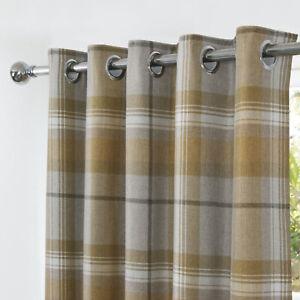 Highland Ochre Multi Tartan Checked Blackout Curtains Ring Top Eyelet Header