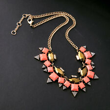 Square Coral Faceted Resin Pave Triangle Cluster Statement Necklace Pink Jewelry