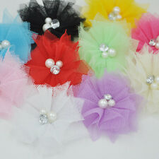 Cute 10PCS Mesh Ribbon Flowers Bows W/Beads Rhinstone Appliques Craft F260
