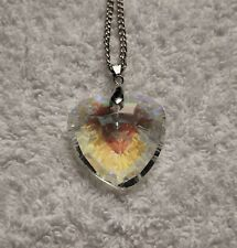 Multi-Coloured CRYSTAL HEART Longer Length NECKLACE 30 Inch Valentine