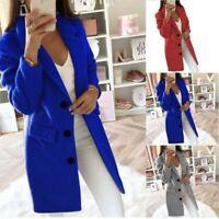 Warm Trench Coat Women's Blazer Overcoat Long Woolen Ladies Sleeve Winter Jacket