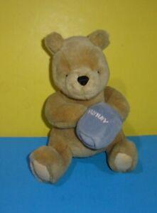"8"" CLASSIC POOH Stuffed Animal GUND Plush DISNEY Honey Blue HUNNY JAR"