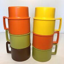 VTG Tupperware Mugs Set of 6 Plastic Stacking Harvest Autumn Coffee Tea Cup 1312