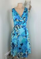 George Dress size 6 blue yellow flower print sleeveless aline fit flare formal