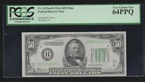 US - 50 Dollar Federal Reserve MULE Note - 1934 A - New York PCGS 64 PPQ UNC