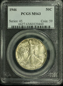 Walking Liberty Silver Half Dollar. 1946 P. PCGS MS63. Lot # 9034-212-9460