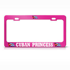 HOT PINK CUBA PRINCESS License Plate Frame CUBAN FLAG PRIDE SUV Auto Tag