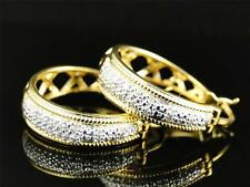 Womens Ladies Yellow Gold Finish Rounnd Cut Diamond Pave Hoops Earrings 22 MM