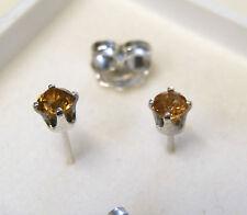4 mm  orange zircon sterling silver stud earrings
