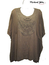 Michael Stars Top One Size Khaki Knit Oversize Crocheted Front Detail New!