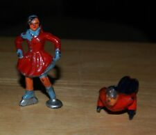 Christmas Barclay Lead (2) Village People Lady Ice Skater/Man Sliding Down Hill