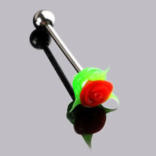 1-2x 14G SILICONE RED ROSE TONGUE RING 316L SURGICAL STEEL BODY PIERCING BARBELL