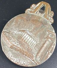 Vintage Copper Greek Theme Letter / Document Clip Decorated with Parthenon & Owl