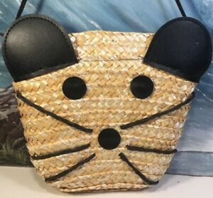Cat Purse Small Straw Weave Simple Carry Purse 5x6 Strap Drop 6""
