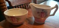 Antique Signed George Clews Staffordshire England Demi Cream and Sugar-Pinks