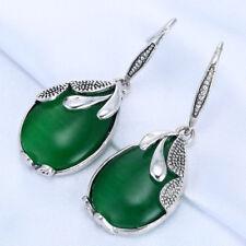 Fashion Green Opal Emerald Retro 925 Silver Filled Dangle Drop Earring Jewelry J